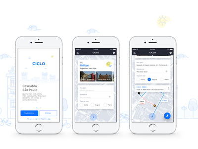 CICLO - Discover your city by bike product sketch landscape ios illustration gps transportation bicycle user interface uiux