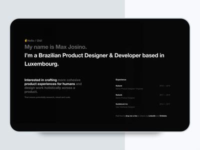 Portfolio / Personal Website  - Intro Animation minimalist minimalism landing page typography prototype animation uiux website design user interface