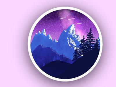 Landscape Illustration illustration snowy night stars montains trees landscape
