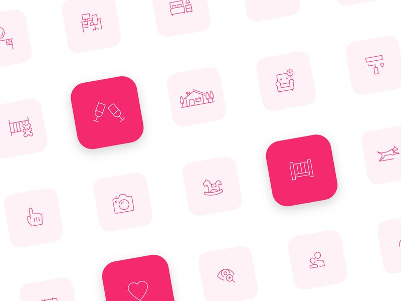 Spacejoy Icon Set branding icon mark logo interior design pink line icon line symbol icon symbols icon design icons iconography icon set icon