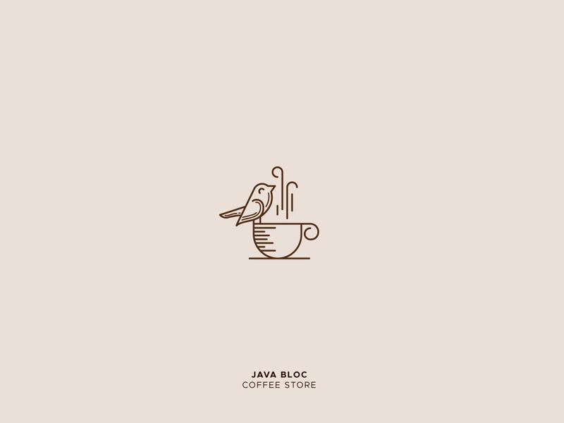 Java Bloc letter typography alphabet illustration sparrow cafe logo coffee logo branding animal logo bird logo creative design icon mark logo design gradient logo