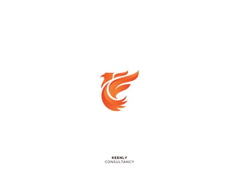 Keenly startup logo consulting firm branding illustration fire phoenix portfolio logofolio animal logo design bird logo icon mark logo alphabet design gradient logo