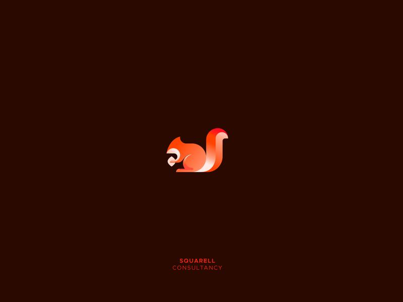 Squarell logofolio animal logo animal series consulting firm squirrels squirrel brand identity design logotype branding creative design illustration icon mark logo alphabet design gradient logo