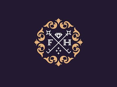 Fine Haus ornate logo design diamond logo sigil key logo shield logo alphabet logo monogram luxury logo design letterpress serif logo real estate logo key hole f logo h logo brand identity design