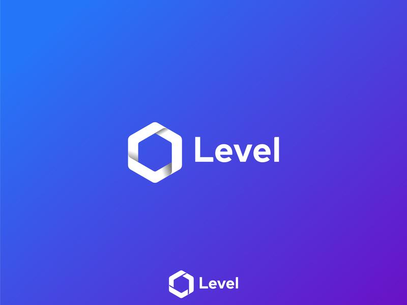 Level logo concept 2 l l logo logo gradient hexagon logo triangle logo design branding level logotype play logo