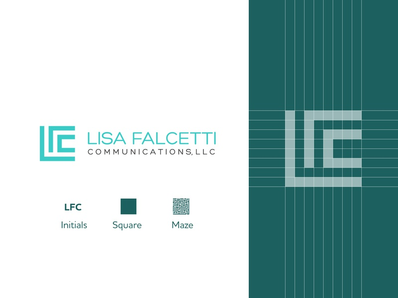 Lisa Falcetti Communications Logo grid logo square logo media logo communications logo logotype lfc initials logo gradient triangle logo design branding creative design clever gradient color inspiration icon mark logo illustration letter typography construction logo