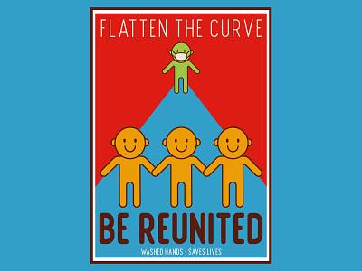 Flatten The Curve poster design design vector illustration