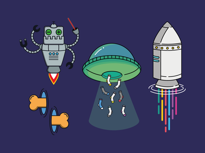 Space Adventure Elements stationery design character design vector illustration