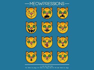 Meowpressions cartoon character design vector illustration