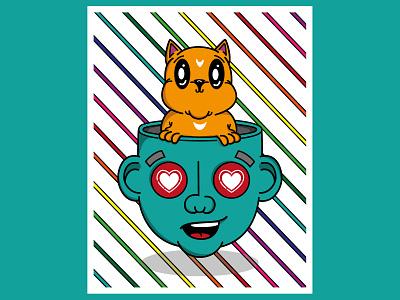 I LIKE Cats poster art vector character design illustration