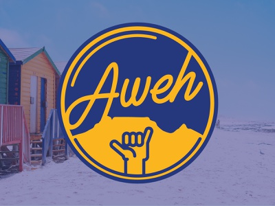 Aweh Cape Town two color sunshine surf sticker vector illustration