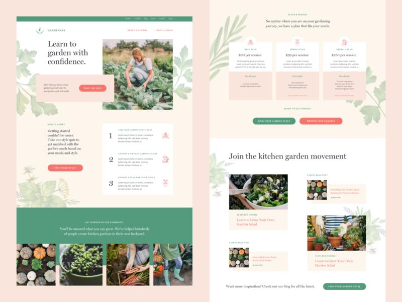 Gardenary Home web design responsive design landing page marketing design
