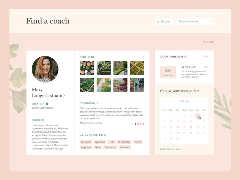 Gardenary Coach Profile avatar image gallery calendar booking form search profile ux design ui design ux ui web design