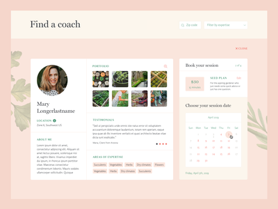 Gardenary Coach Profile avatar image gallery calendar booking form search profile ux design ui design ux ui web design