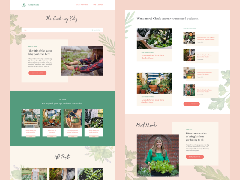 Gardenary Blog Design startup plants gardening feminine ux design ui design ui responsive website blog