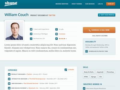 Shyne Profile marketing open sans roboto slab profile avatar resume