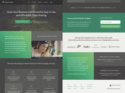SproutVideo Homepage, v1 adelle source sans pro video hosting gradient nature marketing site homepage