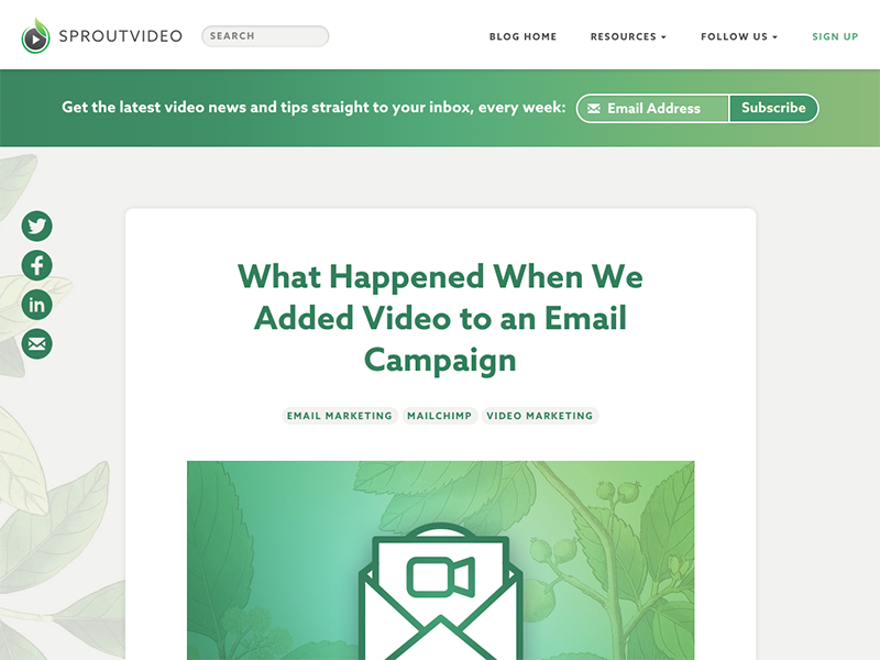 SproutVideo Blog updates subscribe social blog gradient green azo sans sproutvideo
