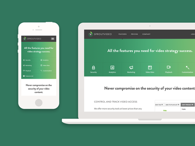 SproutVideo Features Page Case Study website responsive gradients startup saas marketing features page sproutvideo