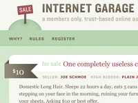 Mocking up a design for Internet Garage Sale