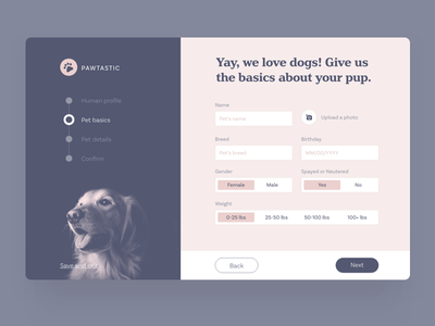 Create your pet profile input upload toggle adobe xd free download ui kit pets profile sign up form design