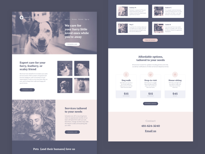 Pawtastic Marketing One-Pager one-pager marketing website forms henriette basic sans pets adobe xd e-commerce ui kit