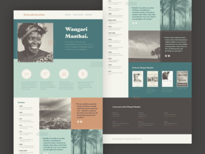 Wangari Maathai Landing Page women biography landing page ratio gastromond icons africa environmentalism wangari maathai adobe xd