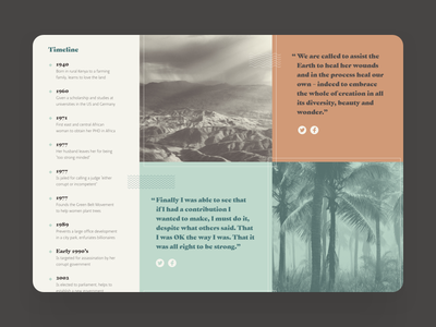Detail shot of timeline and quotes from Wangari Maathai