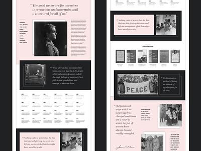 Jane Addams Landing Page franklin gothic questa grande jane addams feminist vintage quotes timeline profile biography landing page adobe xd