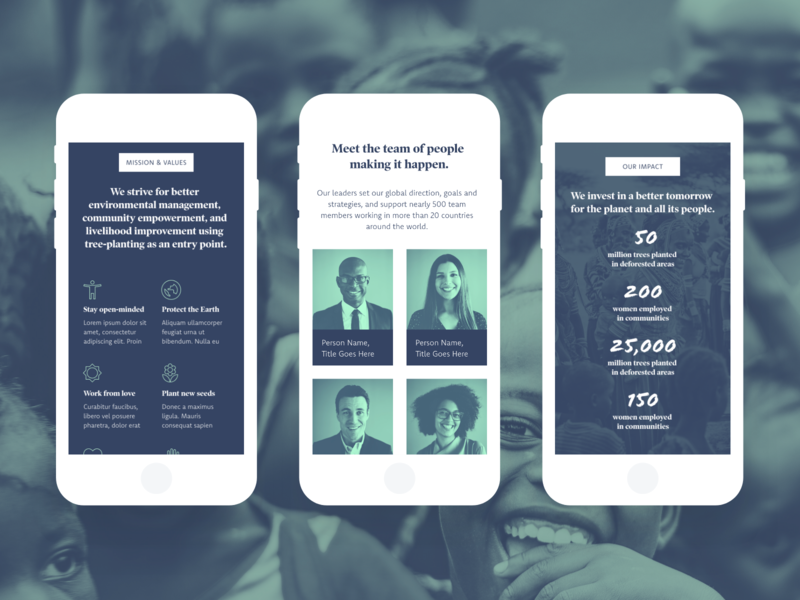 Non-profit UI Kit Mobile Screens by Meagan Fisher on Dribbble