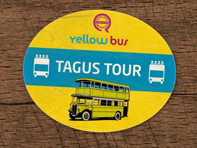 Yellow Bus lisboa portugal travel lisbon souvenir vintage retro worn sticker