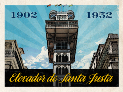 Santa justa postcard lisbon souvenir vintage retro worn postcard lisboa portugal travel