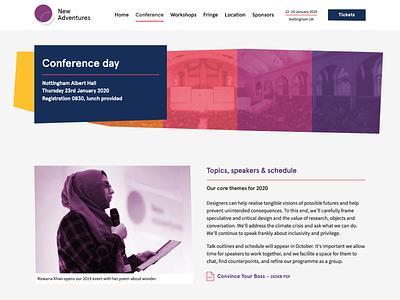 New Adventures 2020 event conference webdesign web apercu colour color design naconf new adventures