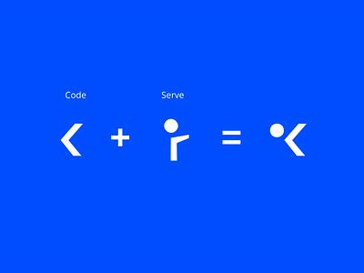 Koodi - logo explainer joren brosens logodesign code abstract branding branding agency logodesigns logo blue finish