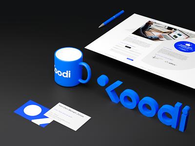 Koodi - branding joren brosens logo 3d webdesign website blender blender 3d 3d composition blue finish logo design logodesign logo branding