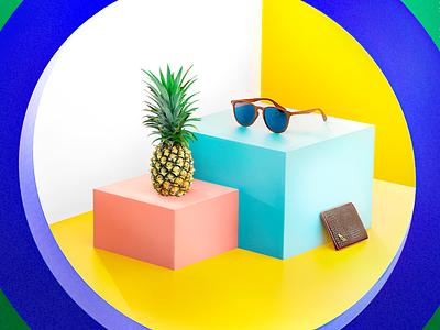 Fin - 3D visualisation accessories joren brosens branding agency brand designer surf t-shirt sunglasses 3d artist blender3d store design store graphicdesign accessories
