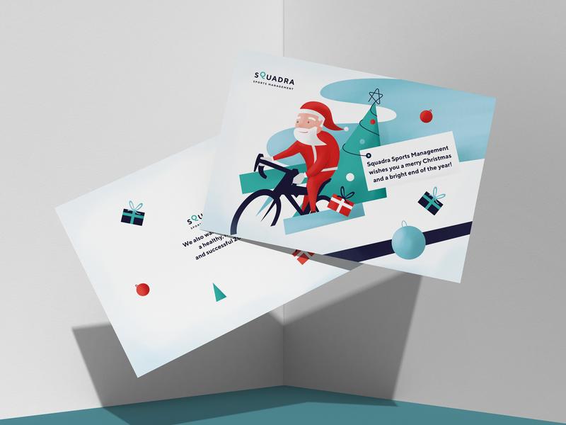 Christmas card santa claus gift card illustration cycling christmas card