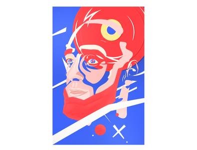 Portrait illustrative cover art portrait papercraft red blue vector abstract illustration