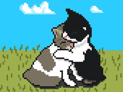Pixel Art Cuddling Cats art drawing cute cuddle cats 8bit pixel art pixelart