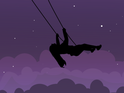 Swing under Night Sky Illustration