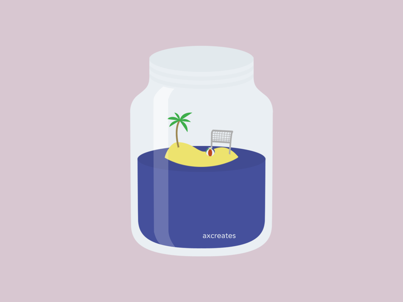 Beach in a Jar flat design graphic design vector design illustration