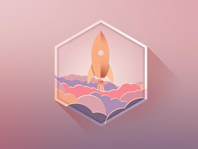 let's start :)  rocket design icon