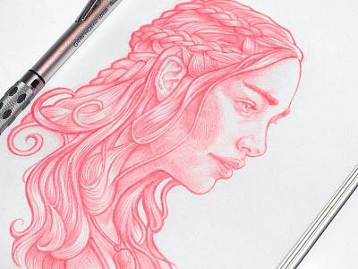 Daenerys sketch sketching practice khaleesi girl illustration game of thrones got drawing sketch