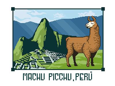 Machu Picchu Llama indiedev game 2d pixel art pixel drawing machu picchu peru llama