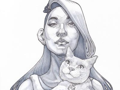 La Dama con il Gatto sketching art nouveau disegno dibujo woman drawing copic cat sketch ilustracion illustration