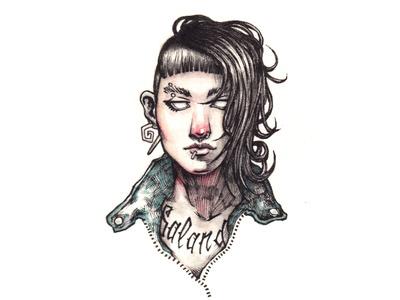 Salander - The Girl with the Dragon Tattoo stieg larsson game design traditional art pencil watercolors disegno ilustracion illustration dibujo sketch drawing millenium dragon tattoo salander