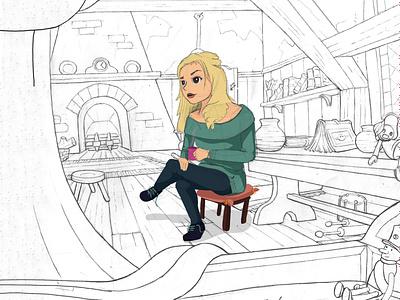 Golden Haired Girl book design girl character marvel illustration character illustration art design art cartoon drawing