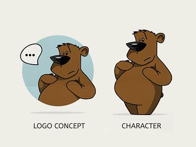 Thoughtful Bear Vector Illustration Mascot art drawing ux logo vector cartoon illustration art design illustration character