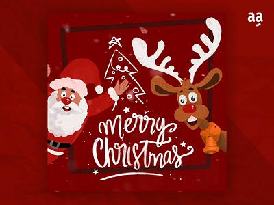 Merry Christmas - Santa and her Deer animated merry christmas noel christmas animal motion animation cartoon illustration art drawing design character