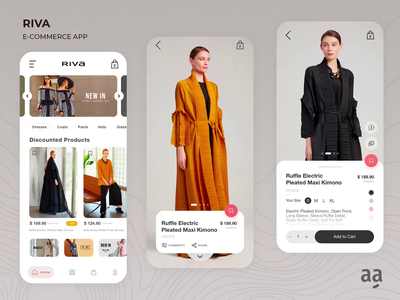 Riva E-Commerce App UI/UX Interface Design web design mobile animation web design illustration app ux art ui